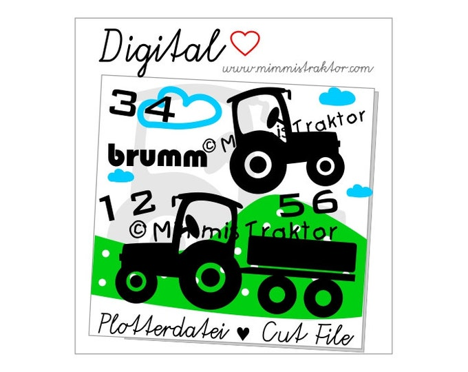 Cut File SVG, DXF, Instant Digital Download, Tractors, With Trailer, limited commercial use