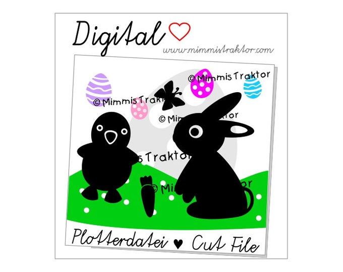 Cut File SVG, DXF, Instant Digital Download, Rabbit Bunny Chick Carrot, limited commercial use