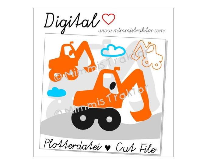 Cut File SVG, DXF, Instant Digital Download, digger, power shovel, clouds, limited commercial use