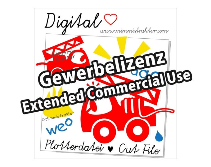 Additional commercial license, Instant Digital Download, Fire Engine, Fire Truck, Fire