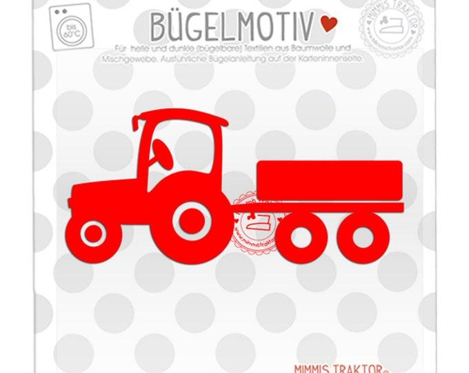Bügelbild Traktor mit Anhänger 12,5 x 5,5 cm ROT