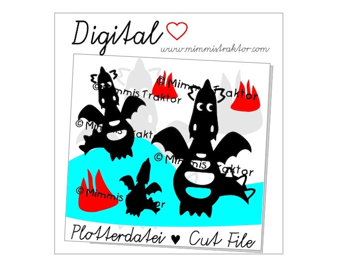 Cut File SVG, DXF, Instant Digital Download, dragon with fire, limited commercial use