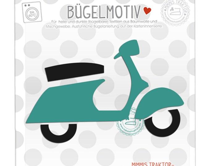 Bügelbild Roller Moped 13 x 8,2 cm PETROL