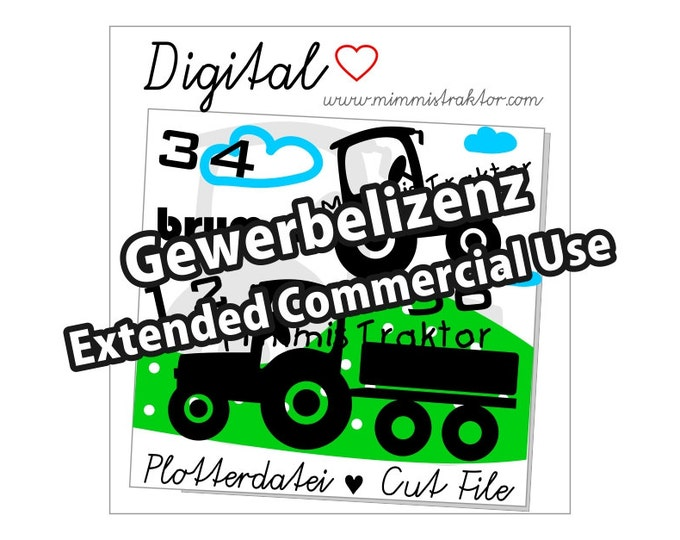 Additional commercial license, Instant Digital Download, Tractors, With Trailer