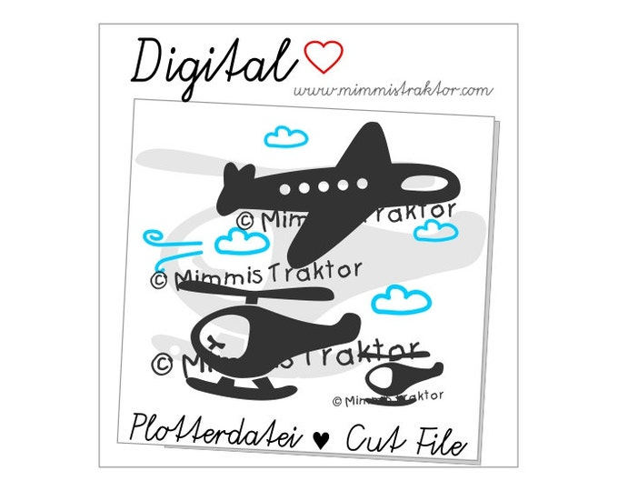 Cut File SVG, DXF, Instant Digital Download, Helicopter, plane, aircraft, limited commercial use