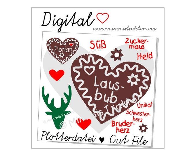 Cut File SVG, DXF, Instant Digital Download, Gingerbread heart, Deer, limited commercial use
