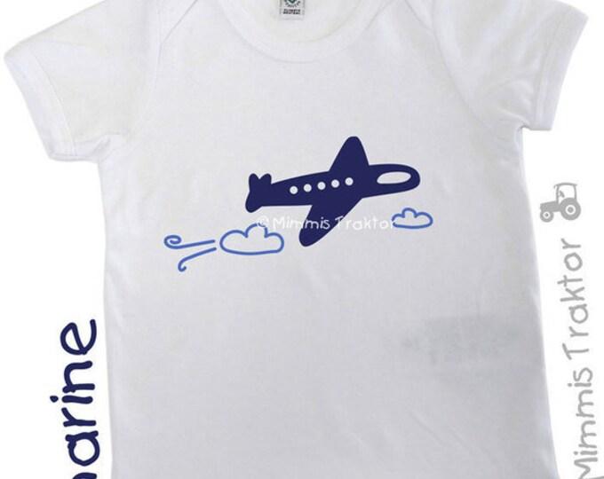 Bügelbild Flugzeug + Wolken 11,5 cm MARINE BLAU