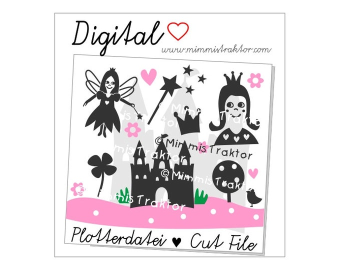 Cut File SVG, DXF, Instant Digital Download, Princess, fairy, castle, limited commercial use