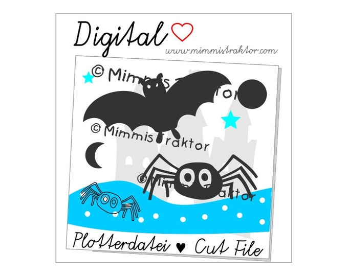 Cut File SVG, DXF, Instant Digital Download, Bat, Spider, limited commercial use