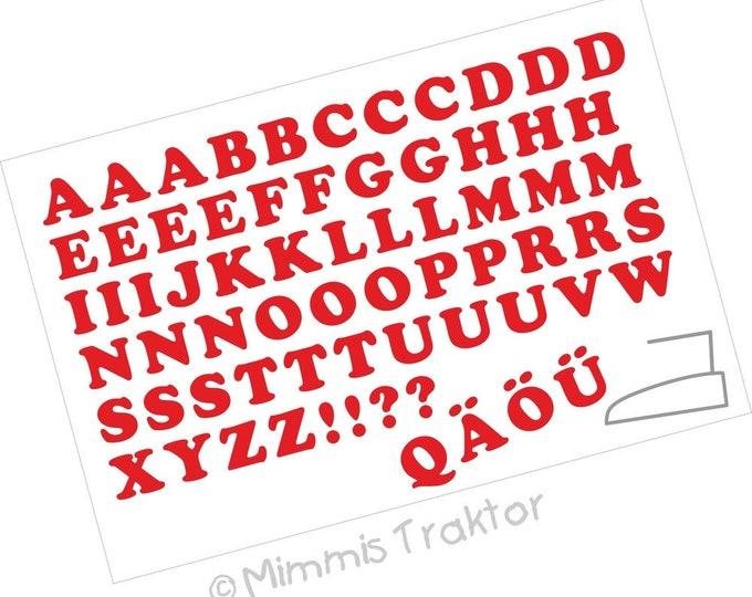 Bügelbild Alphabet 1,8 cm Fett : rot