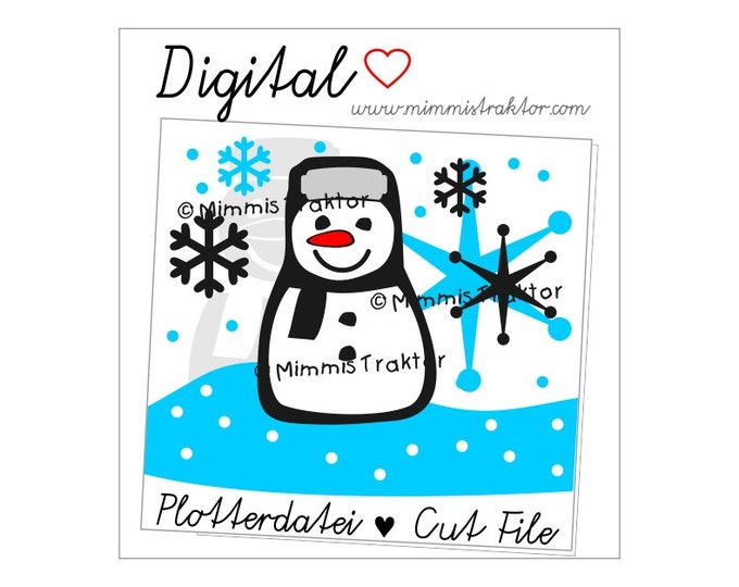 Cut File SVG, DXF, Instant Digital Download, Snowman, flakes, limited commercial use