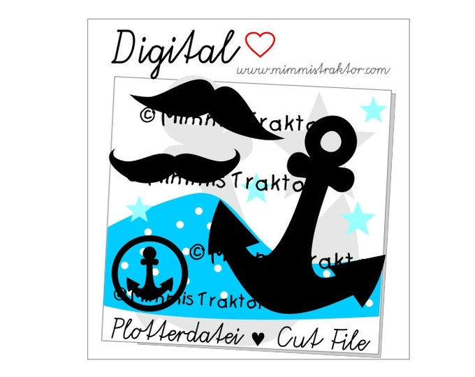 Cut File SVG, DXF, Instant Digital Download, Anchor Sailor Pirate, limited commercial use