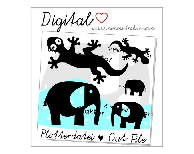 Cut File SVG, DXF, Instant Digital Download, Gecko Elephant, limited commercial use