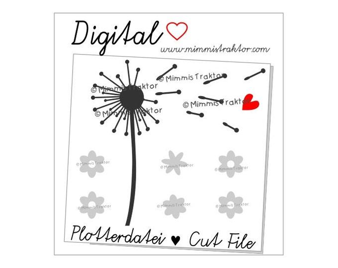Cut File SVG, DXF, Instant Digital Download, Dandelion Flowers, limited commercial use