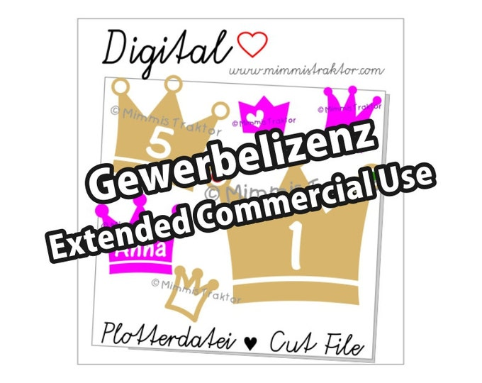 Additional commercial license, Instant Digital Download, Crowns Birthday