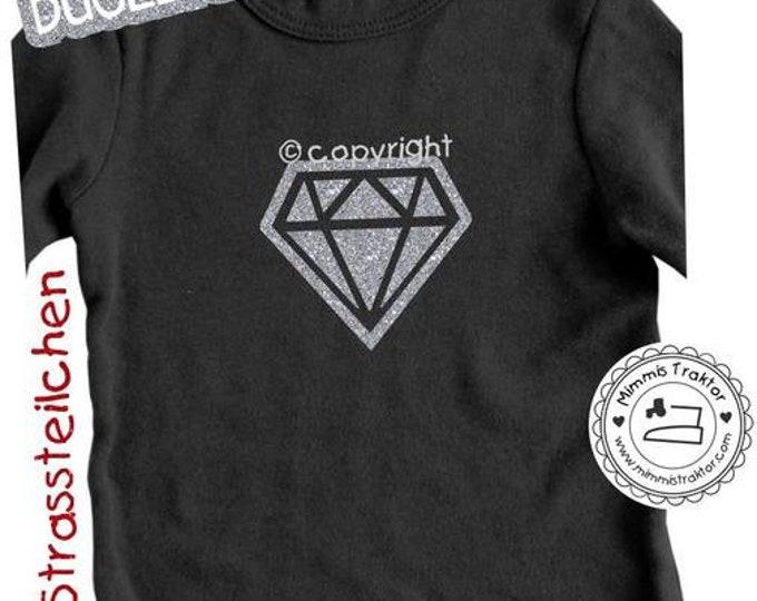 GLITZER Bügelbild Diamant 10 cm x 9,1 cm SILBER