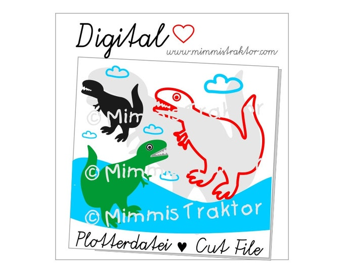 Cut File SVG, DXF, Instant Digital Download, Dinosaur Clouds, limited commercial use