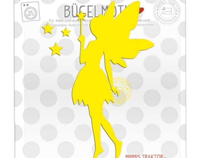Bügelbild Elfe Fee mit Sternen 14 cm : gelb