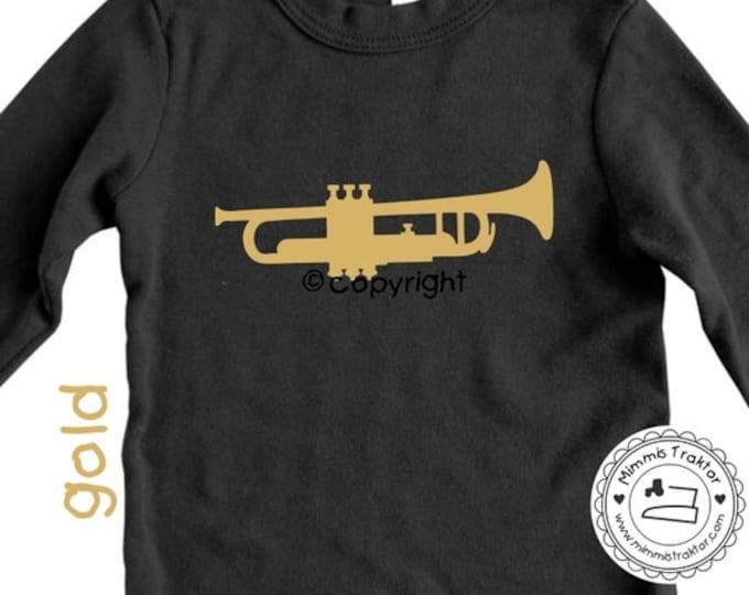 Bügelbild Gr. L Trompete 17 x 6 cm Flexfolie GOLD