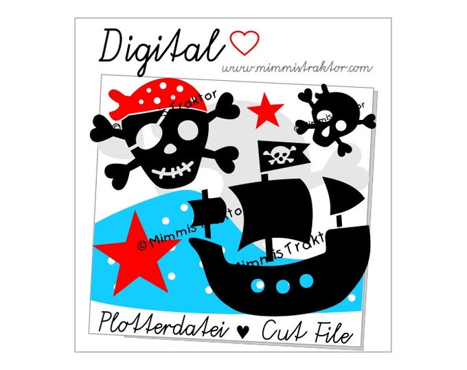 Cut File SVG, DXF, Instant Digital Download, Pirate, Buccaneer, Pirate Ship, limited commercial use