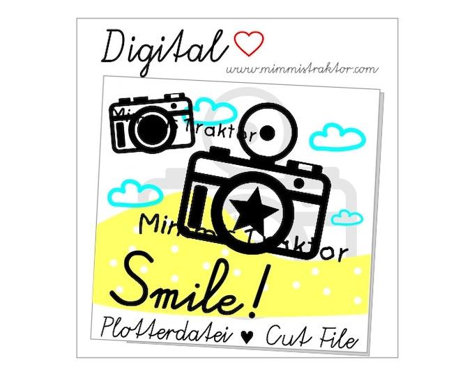 Cut File SVG, DXF, Instant Digital Download, Camera Smile!, limited commercial use