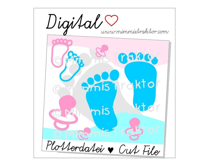 Cut File SVG, DXF, Instant Digital Download, Foot Footprint Feet Dummy Pacifier, limited commercial use