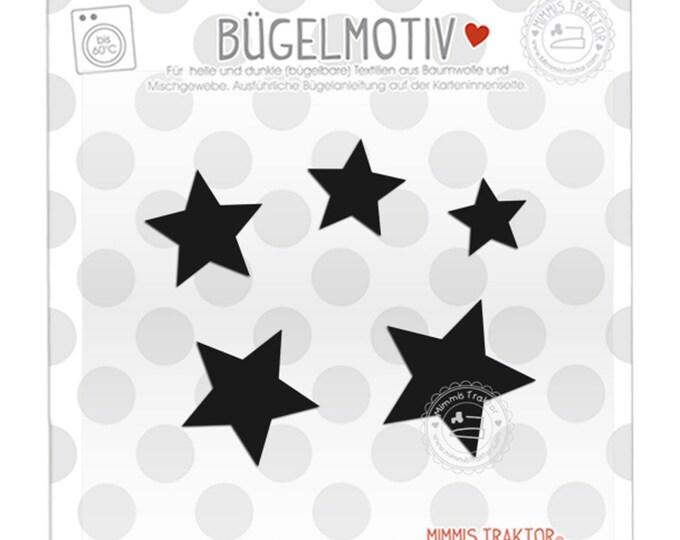 Bügelbild 5 Sterne 4 - 2 cm : schwarz