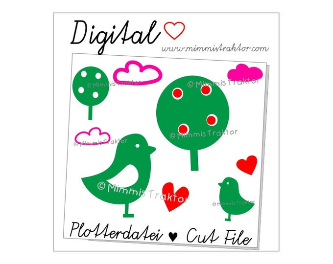 Cut File SVG, DXF, Instant Digital Download, (Apple) Tree Bird, limited commercial use