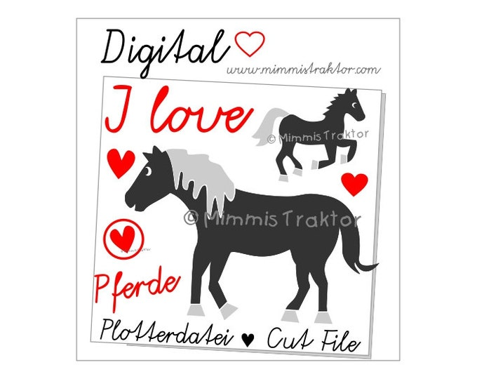 Cut File SVG, DXF, Instant Digital Download, Horses, limited commercial use