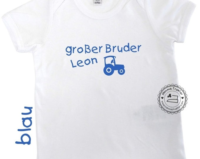 Bügelbild großer Bruder + NAME + Traktor BLAU