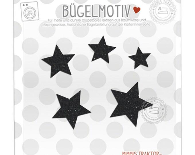 GLITZER Bügelbild 5 Sterne : Glitzer schwarz