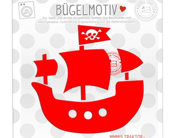 Bügelbild Piratenschiff 11 cm x 10,7 cm ROT