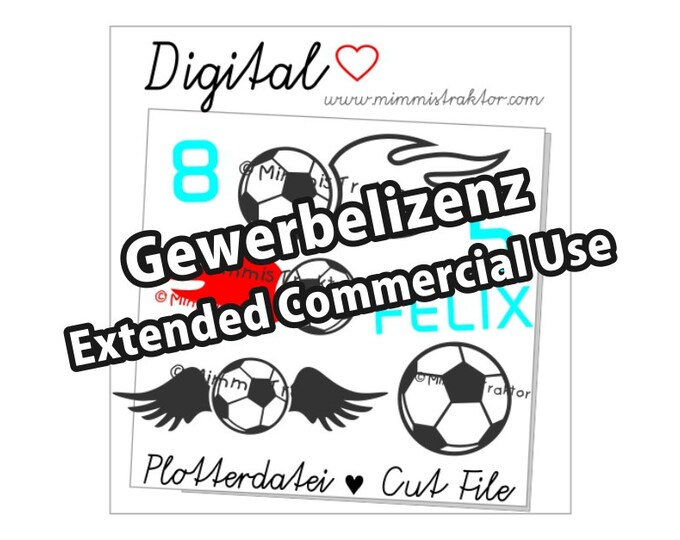 Additional commercial license, Soccer ball, fire, wings, Instant Digital Download,
