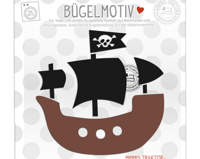 Bügelbild Piratenschiff 11 cm SCHWARZ BRAUN