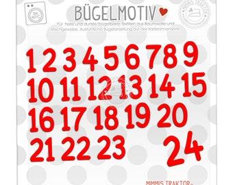 Bügelbild 24 Adventskalender Zahlen zum Aufbügeln FARBWAHL