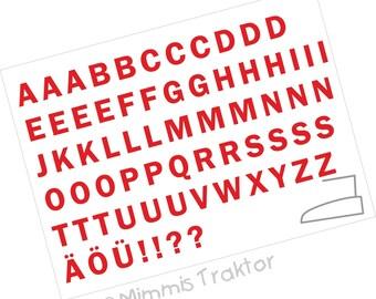 Bügelbild Alphabet 3 cm Druckschrift WAHLFARBEN