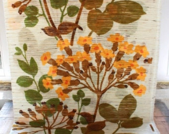 decorative fabric by the yard, 70s deco fabric, big flowers, yellow, green, flowers,