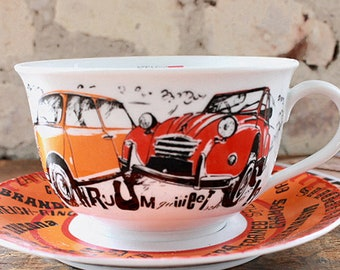8d3caa2bb9e vintage giant cup, gift for car lovers, breakfast bowl, cereal, coffee cup  flowers, hippie,