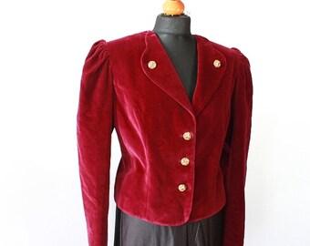 Red velvet jacket, vintage 80s Lady's jacket