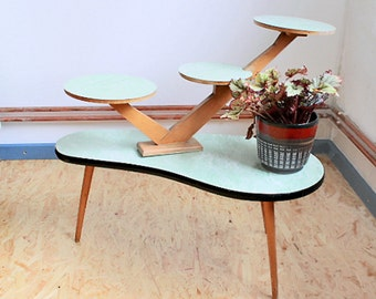 Vintage 50s plant stand, mid century flower bench, green marbled kidney table