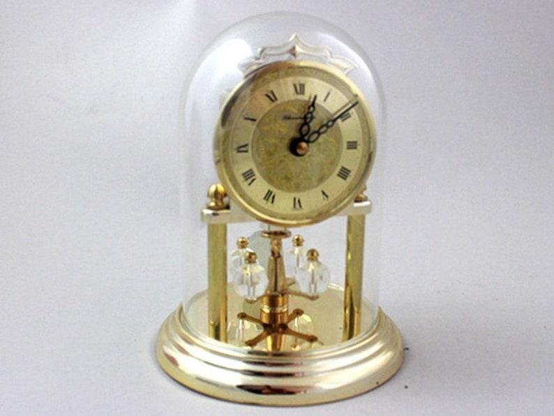 Vintage table clock, torsion pendulum clock, Schmeckenbecher, Swarovski