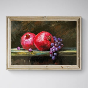Free Shipping Unique Gift for Woman Impressionist Grenade Still Life Original Acrylic Painting Kitchen Decor Small Wall Art