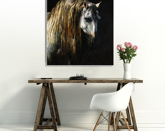 Portrait of a horse, original oil painting, 28.7 x 23.6 inch (original painting) Free shipping
