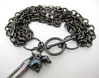chain bracelet, chain and pearl bracelet, gunmetal bracelet, hematite bracelet
