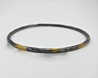 Keum Boo bangle bracelet, blackened silver bracelet, gold and silver bangle