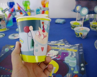 Paper cups - Crazy Science Party - printable party decor - Instant Download - by Monopache