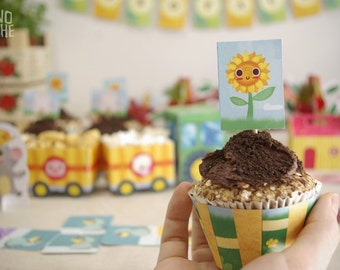 Printable Cupcakes - Farm Party - wrappers and toppers - printable party - instant download - by Monopache