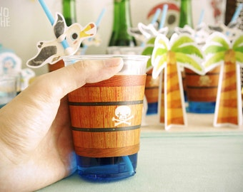 Paper cups - straws - coaster - Pirate Party - printable party - instant download - by Monopache