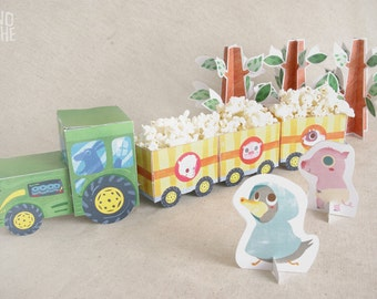 Tractor with trailers - Farm Party - printable paper toy - instant download - by Monopache