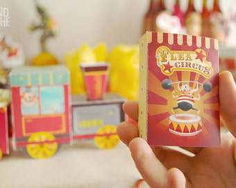 Circus Favor box - Flea circus box - Circus party - printable - Instant Download - by Monopache